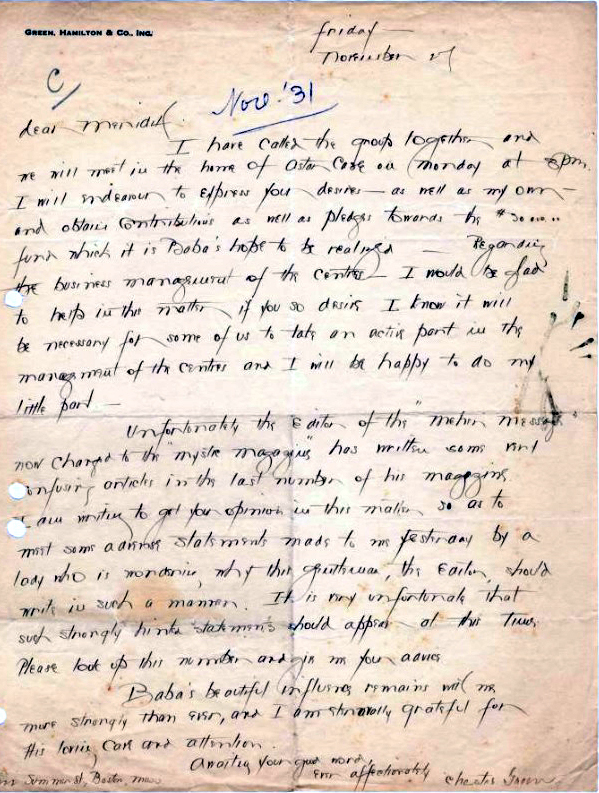 31st November, 1931 : Letter from Chester Green to Meredith Starr. Courtesy of AMB Archives, Meherabad, India