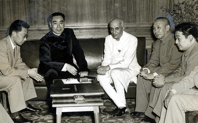 June 1954- Prime Minister Zhou Enlai and Jawaharlal Nehru in New Delhi
