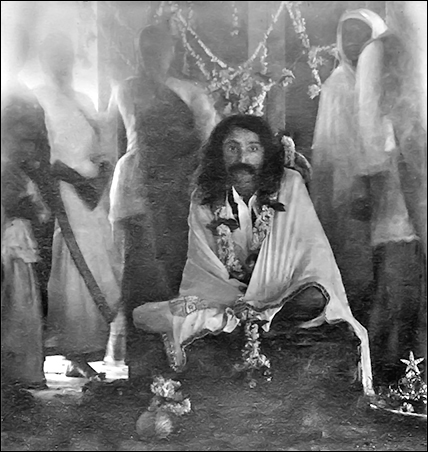 Baba sitting on the Sai Darbar platform, probably on the morning of February 19, 1926 - AMB Archives