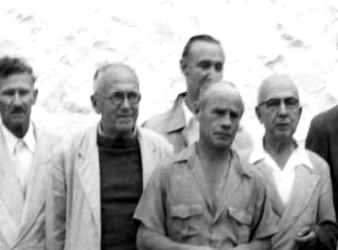 1954; ( l-r )Frank, Charles Purdom, Phillippe Dupuis, Francis Brabazon, Ben Hayman. Trimmed image.