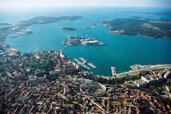 The harbour of Pula, Croatia, on the Istria Peninsula