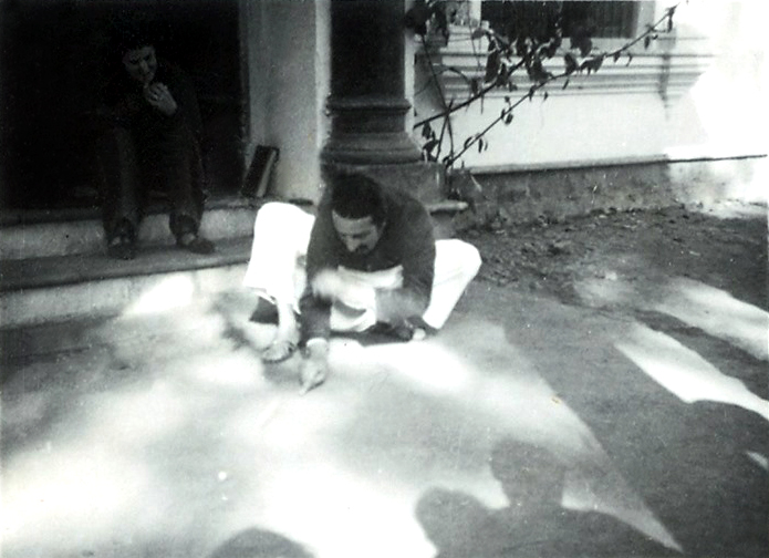 Baba in Jabalpur, January, 1939 at the time He was playing marbles with Meherwan Jessawala, Irene Billo looking. Courtesy of the Jessawala Collection - AMB Archives, Meherabad, India.