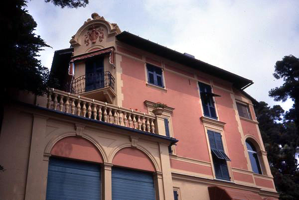 The pink building is where Meher Baba stayed on the 1932 holiday in Santa Margherita on the top floor- Courtesy of Anne  Giles