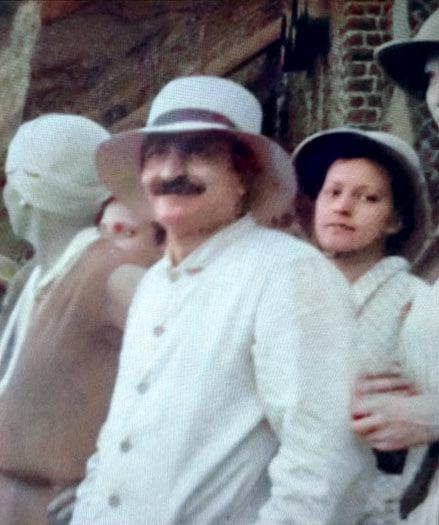 Meher Baba touring in Northern India. Image colourized by Anthony Zois.