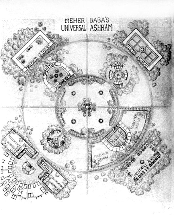 1938 Ashram plans drawn by Walter Mertins & rendered by his wife Hedi Mertens.