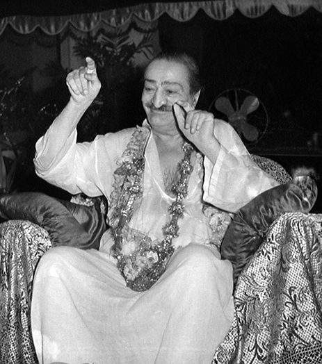 Guruprasad : This photo of Meher Baba was the original image inside Meher Baba's Samadhi ( Tomb ). Courtesy of the Sriramamoorthy Collection @ AMBCCPT, INDIA