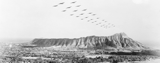 Japanese naval planes in formation over Hawaii before the attack