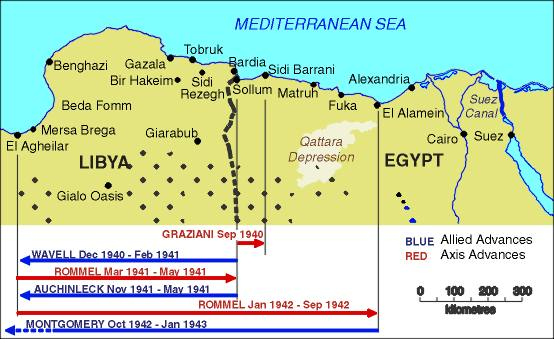 Map shows the German gains in North Africa