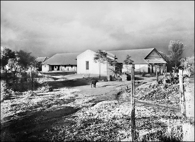 Main Bungalow at Meherabad seen from the road, as it looked in 1954 - Interview Cabin in front of Main Bungalow