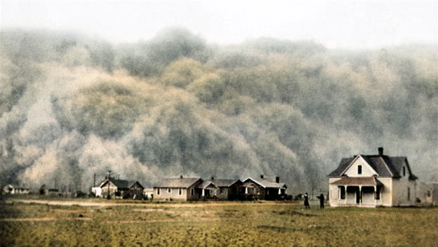 May 11 in history – 1934 – Dust storm sweeps from Great Plains. Image colourized by Anthony Zois.