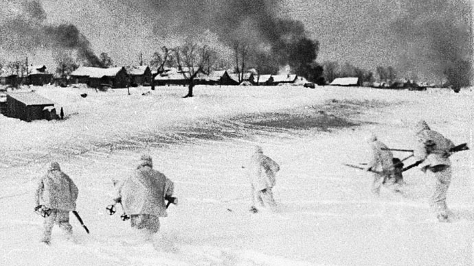 Soviet troops advancing  to liberate townships