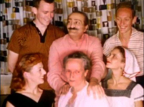 """1956 - Photo taken at the """"Holiday Lodge"""", San Francisco ;  : Tex top-left ,  Margaret - in front of Baba ; Peter Saul is on top-right. Lower left : Bunty Kelley & Marie Adair far right. Image capture from a video by Anthony Zois."""