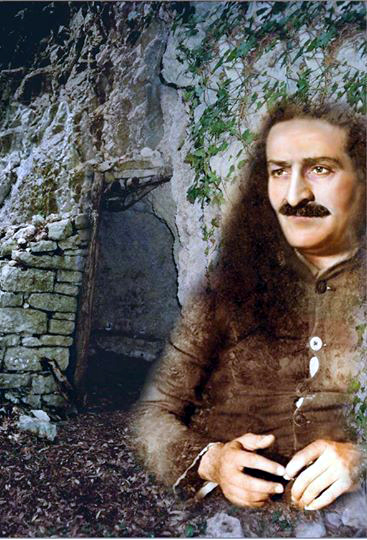 6. Meher Baba and the cave at Assisi, Italy. Artist - Cherie Plumlee