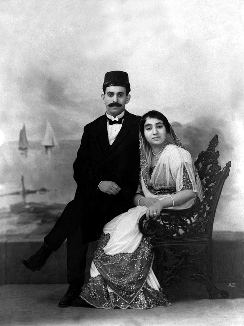 The webmaster believes that the couple in this photo are Jamshed S. Irani ( Meher Baba's older brother ) & his bride Khorshed taken in a photo studio in Poona, India.
