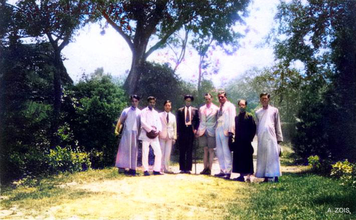 L - R : ?, Jal Irani ( Baba's brother ), ?, ?, Herbert Davy, Rustom K. Irani, ?, ? somewhere in China in 1932 prior to Meher Baba's visit to China. Image colourized by Anthony Zois.