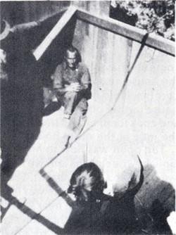 Cabin being built for Meher Baba. Sam Cohen, sitting in upper left corner. Photo courtesy of Dr. R.W. Gerber - The Awakener Magazine