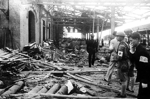 February 1932 - the railway station was bombed by the Japanese forces.