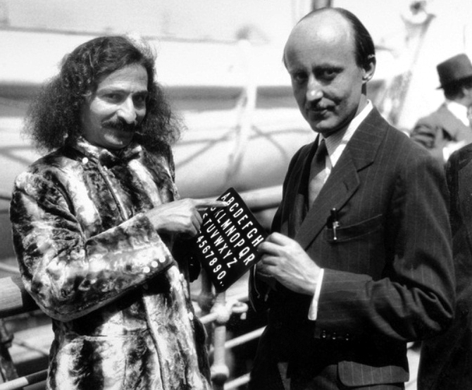 1932 : Meher Baba & Meredith Starr on the SS Bremen in New York Harbour.