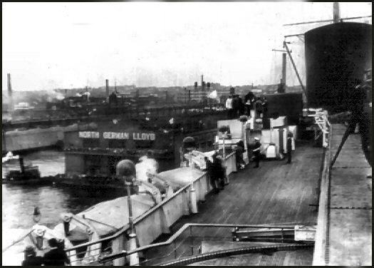 Approaching the Nth German Lloyd New York docks for the SS Bremen.
