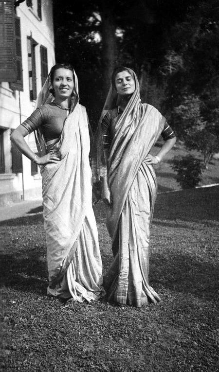 1937, Cannes : ( L-R ) Andree, Anita de Caro dressed in their saris.