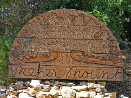 The sign at the entrance to Meher Mount representing Baba's Tree was created and donated by Jim Auster