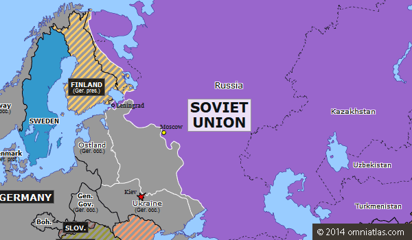 The grey on the map shows the furthest the Axis forces went into the USSR