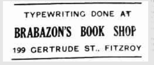 An ad for Francis's fathers bookshop from a publication called The Labor Call, 17 May 1934, Melbourne. Courtesy of W K