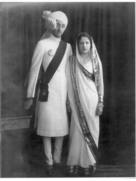 H.H. Maharajadhiraj Raj Rajeshwar Sawai Shri Yeshwantrao II Holkar XIV Bahadur, Maharaja of Indore, GCIE with H.H. Maharani Shrimant Akhand Soubhagyavati Sanyogita Bai Sahiba Holkar
