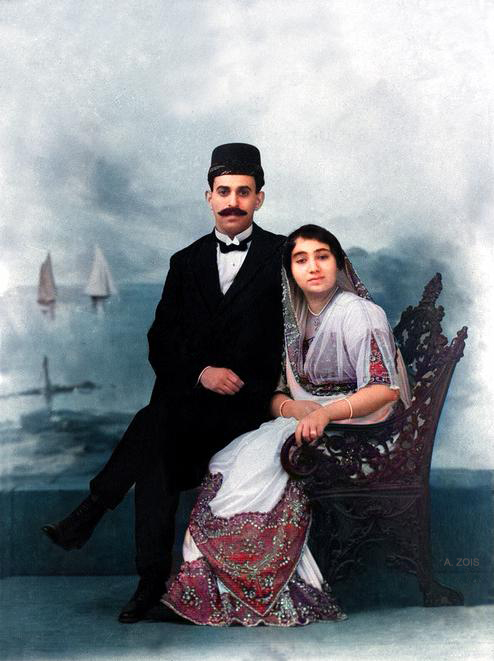 Photo taken possibly at the time of their wedding. Image colourized by Anthony Zois