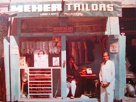 1977 : Meher Tailors, owned by Anil Gitay and by his father before him, in the Ahmednagar bazaar - Shelly Steiner is inside. Photo taken by Eric Teperman.