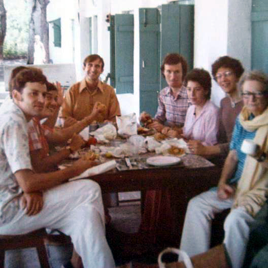 Meherazad, September, 1975 - Ted Judson, Heather Nadel, Jacko Caraco, George Gervin, Laurel Magrini, Eric Teperman and Ena Lemon