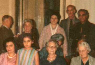 Douglas Eve, Delia DeLeon, Jean Shepherd, Fred Marks, Adi S. Irani; front row, Freni Irani, Shireen Irani, Doris Leveson, name unknown-London 1966