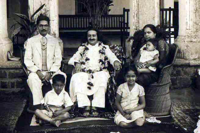 Meher Baba with Dr. C.D. Deshmukh and his family in Nagpur, India