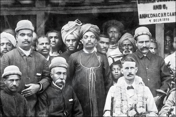 1899 : Adi K Irani's father - Khan Saheb Kaikhushru Sarosh Irani - standing left with hand across his abdomen - his brother-in-law - Sarosh's father - Kaikhushru Ardeshir Irani-standing under the signboard on the right