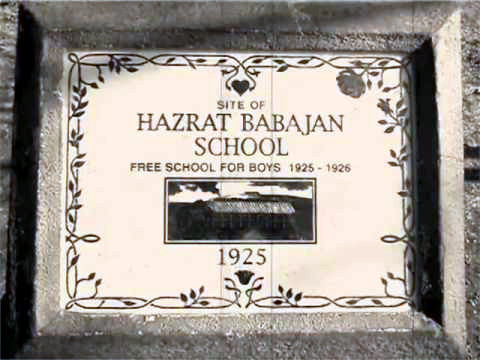 Commemoration plaque for the school that Meher Baba opened to honour her.