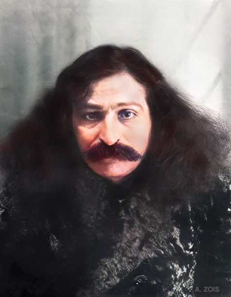 1931 : Meher Baba's passport photo ( B/W ). Image colorized by Anthony Zois.
