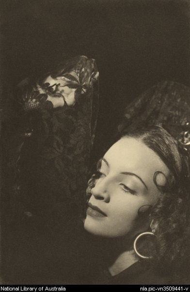 Photo by Max Dupain : Portrait of Olga Valevska, also known as Audrey Williams, from the Monte Carlo Russian Ballet, 1936 or 1937 (Picture)     Ballets Russes Australian tours ;