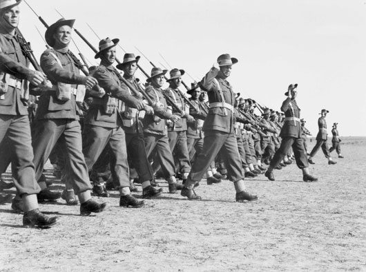 Australian troops doing a march past