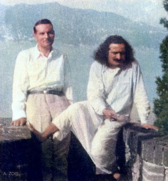 June-July 1933 - Portofino, Italy : Meher Baba & Herbert Davy. Image cropped & colourized  by A. Zois.