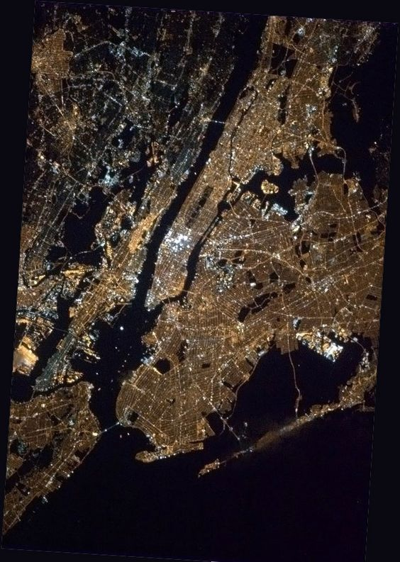 NYC from the International Space Station by Canadian Commander, Col. Chris Hadfield, 2013