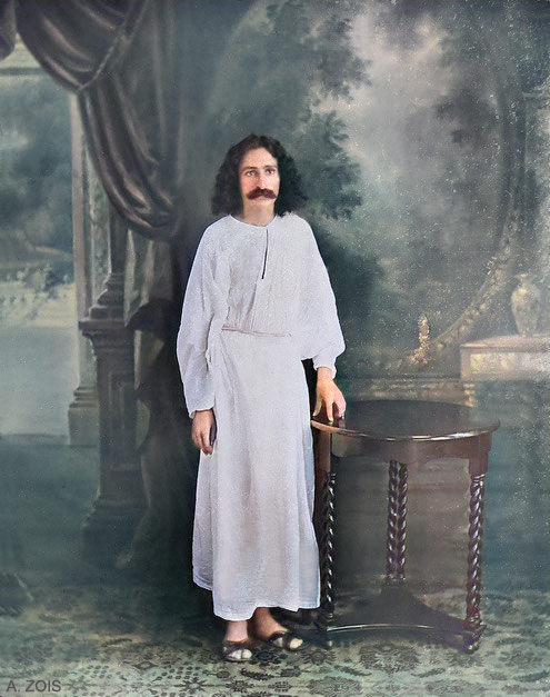 Meher Baba in a studio in India around the same time he was writing his un-published book. Image colourized by Anthony Zois.