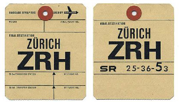 Baggage labels for Zurich Airport.