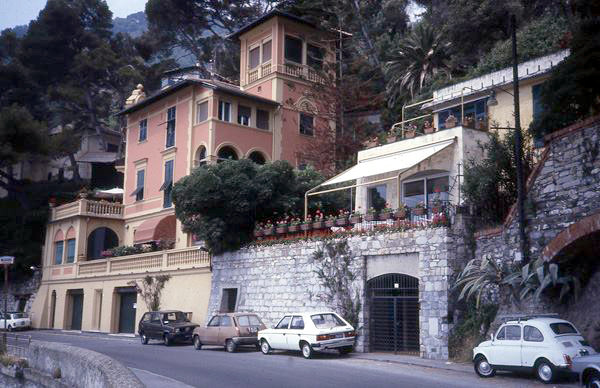 The pink building is where Meher Baba stayed on the 1932 holiday in Santa Margherita on the top floor - Courtesy of Anne  Giles