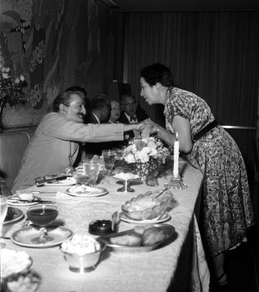 1956 ; Meher Baba greeting at Longchamps restaurant, Annarosa Karrasch's mother -  Mrs. Theresa DiBlasio