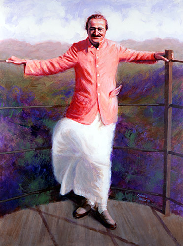 "1990 -#7 ; Baba at Arthur's Seat, Mahableshwar, India. Oil - 68""x51.5"" . This painting appears at the Meeting Place at the Meher Center, Myrtle Beach, SC."