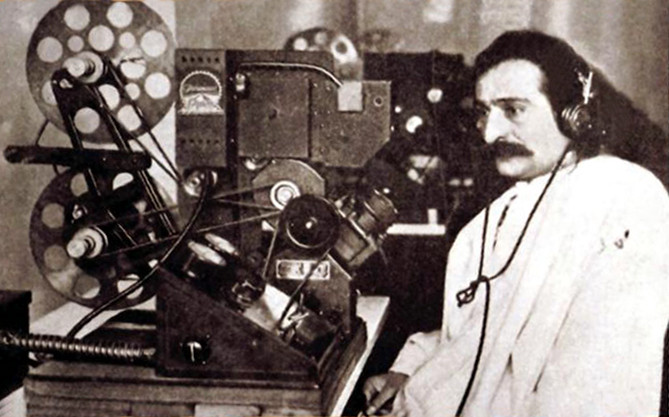Meher Baba in Hollywood previewing a film, 1932 ; Courtesy of Beloved Books