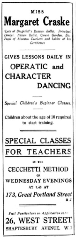 "Margaret Craske's Dance Studio advertising in the ""Dancing Times"". Courtesy of Charmaine Foley"