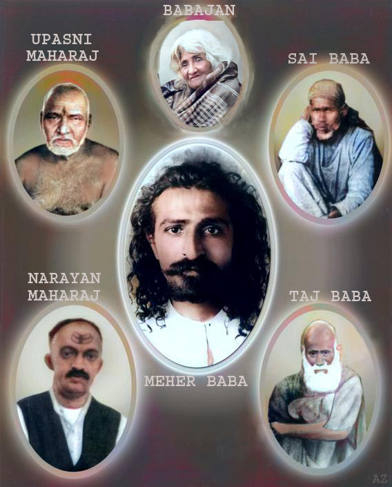 A collage of Meher Baba & the 5 Perfect Masters he met during his Awakening,