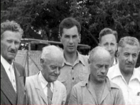 India 1954 ; (L-R) Frank Hendrick, Will Backett, Bill LePage, Francis Brabazon, John Ballantyne, Joseph Harb