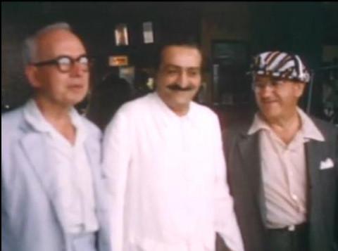 (L)Ben Hayman, Meher Baba, Fred Winterfeldt ( R)